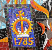 Mosaic image of The Crown with the date of the fire.