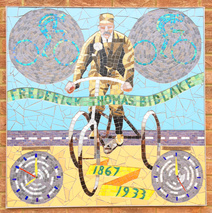 Frederick Thomas Bidlake riding his famous tricycle.