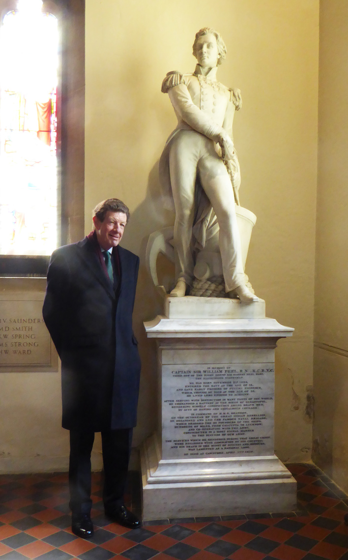 Lord Peel with Statue of Captain Sir William Peel